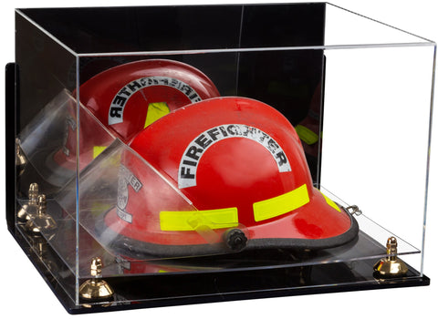 Acrylic Fireman's Helmet Large Display Case with Mirror, Wall Mount, Risers and Clear Base