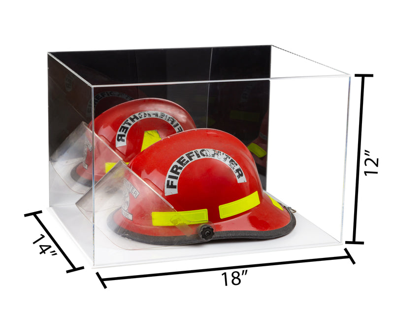 "Large Acrylic Display Case 18""x14""x12"" w/ Clear or Mirror, Black or White Floor A014/V60"
