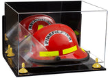 Wall Mounted Fireman's Helmet Display Box with Risers