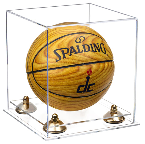 Clear Acrylic Mini - Miniature (not Full Size) Basketball Display Case with Risers and Clear Base