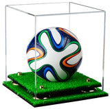 Clear Acrylic Mini - Miniature (not Full Size) Soccer Ball Display Case with Risers and Turf Base