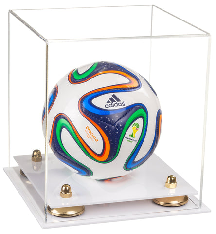 Clear Acrylic Mini - Miniature (not Full Size) Soccer Ball Display Case with Risers and White Base