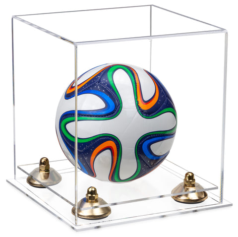 Clear Acrylic Mini - Miniature (not Full Size) Soccer Ball Display Case with Risers and Clear Base