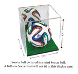MINI - Miniature (not full size) Soccer Ball <br> Clear Display Case <br> with Turf Bottom <br><sub> FIFA, NCAA, and More! (A015-TB), Display Case, Better Display Cases, Better Display Cases - Better Display Cases