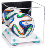 Acrylic Mini Soccer Ball Display Case with Mirror and Risers