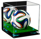 Mini Soccer Ball Display Case with Wall Mount and Turf Base
