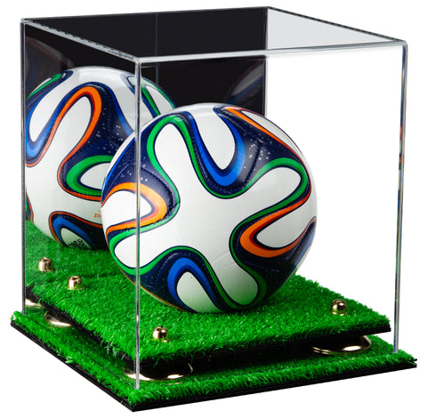 Acrylic Mini - Miniature (not Full Size) Soccer Ball Display Case with Mirror, Risers and Turf Base