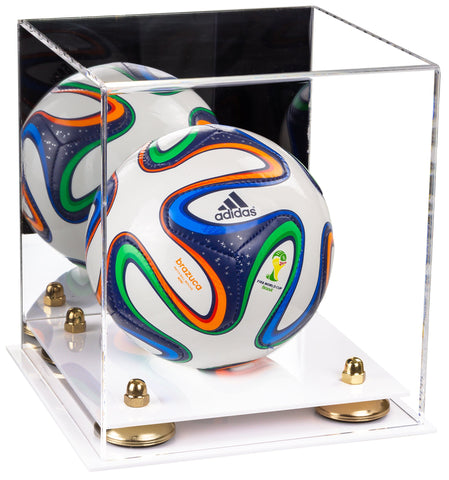 Acrylic Mini - Miniature (not Full Size) Soccer Ball Display Case with Mirror, Risers and White Base