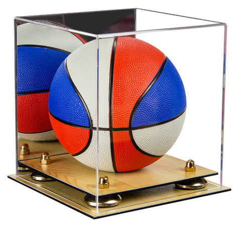 Acrylic Mini - Miniature (not Full Size) Basketball Display Case with Mirror, Risers and Wood Base