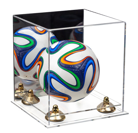 Acrylic Mini - Miniature (not Full Size) Soccer Ball Display Case with Mirror, Gold Risers and Clear Base