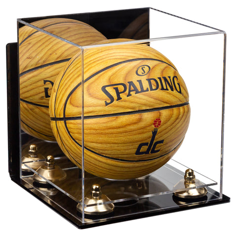 Acrylic Mini - Miniature (not Full Size) Basketball Display Case with Mirror, Wall Mount, Risers and Clear Base