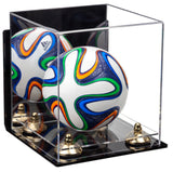 Acrylic Mini - Miniature (not Full Size) Soccer Ball Display Case with Mirror, Wall Mount, Gold Risers and Clear Base