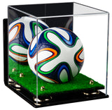 Acrylic Mini - Miniature (not Full Size) Soccer Ball Display Case with Mirror, Wall Mount, Risers and Turf Base
