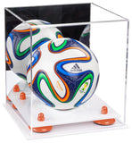 Mini Soccer Ball Display Case with White Base