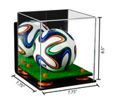 7.75x7.75x8.5 Mini Soccer Ball Display Case with Wall Mount and Turf Base