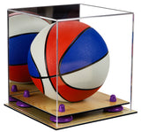 Deluxe Acrylic Mini - Miniature (not Full Size) Basketball Display Case with Mirror, Risers and Wood Floor (A015-WF) <br><sub> For NBA, NCAA, and more</sub>, Display Case, Better Display Cases, Better Display Cases - Better Display Cases