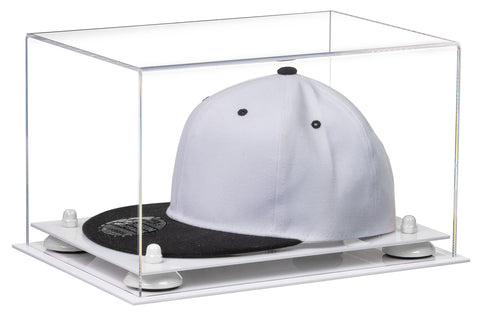 Clear Acrylic Hat or Cap Display Case w/ White Base A018/V40