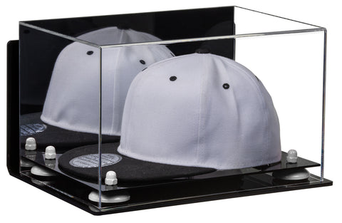 Hat or Cap Display Case w/ Mirror, Wall Mount, Black Base A018/V40