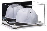 Acrylic Snapback Hat or Baseball Cap Display Case w/ Mirror, White Base A018/V40
