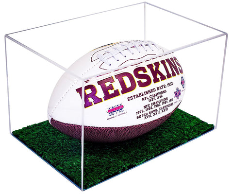 Football Display Case <br> Green Turf Bottom <br> <sub> NFL, NCAA, and more! </sub>