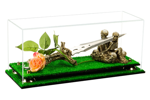 "Versatile Deluxe Clear Acrylic Display Case - Large Rectangle Box with Risers and Turf Base 17"" x 6"" x 7"" (A019-TB), Display Case, Better Display Cases, Better Display Cases - Better Display Cases"