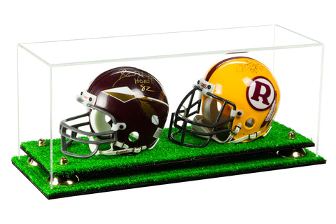 2 Mini Football Helmet Display Case (not full size)<br><sub>Clear Acrylic Plexiglass with Turf Base and Risers (A019-TB), Display Case, Better Display Cases, Better Display Cases - Better Display Cases
