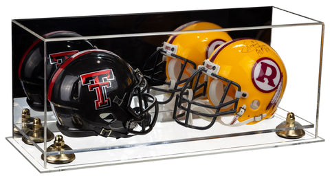 2 Mini Football Helmet Display Case (not Full Size) Clear Acrylic Plexiglass with Mirror, Risers and Clear Base