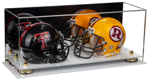 2 Mini Football Helmet Display Case (not Full Size) Clear Acrylic Plexiglass with Mirror, Risers and White Base