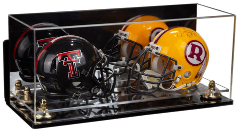 2 Mini Football Helmet Display Case (not Full Size) Clear Acrylic Plexiglass with Mirror, Wall Mount, Risers and Clear Base