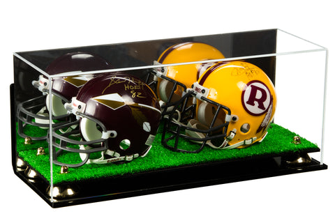 2 Mini Football Helmet Display Case (not full size)<br><sub>Clear Acrylic Plexiglass with Mirror, Wall Mount, Risers and Turf Base (A019-TB), Display Case, Better Display Cases, Better Display Cases - Better Display Cases