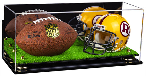 Deluxe Acrylic Mini - Miniature (not Full Size) Football and Helmet Display Case with Mirror, Wall Mount, Risers and Turf Base (A019-TB), Display Case, Better Display Cases, Better Display Cases - Better Display Cases