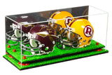 2 Mini Football Helmet Display Case (not full size)<br><sub>Clear Acrylic Plexiglass with Mirror, Risers and Turf Base (A019-TB), Display Case, Better Display Cases, Better Display Cases - Better Display Cases