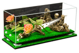 "Versatile Deluxe Acrylic Display Case - Large Rectangle Box with Risers, Mirror and Turf Base 17"" x 6"" x 7"" (A019-TB), Display Case, Better Display Cases, Better Display Cases - Better Display Cases"