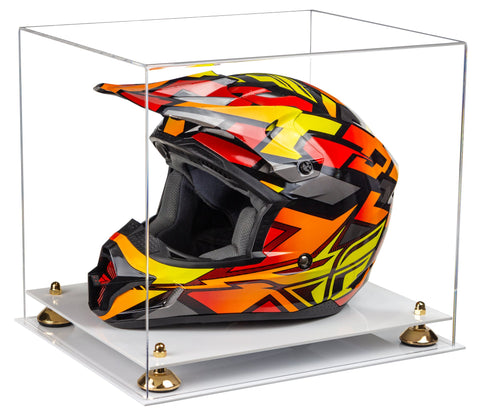 Clear Acrylic Motorcycle Motocross or Nascar Racing Helmet Display Case with Risers and White Base