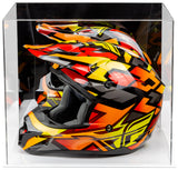 Acrylic Motorcycle Motocross or Nascar Racing Helmet Display Case with White Base (A024-WDS)