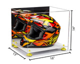 Acrylic Racing Helmet Display Case w/ Mirror, White Base A024/V61