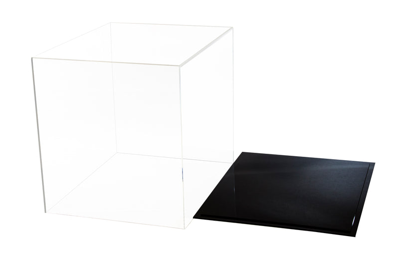 "Large Acrylic Display Case 16""x13""x14"" w/ Clear or Mirror, Black or White Floor A024/V61"