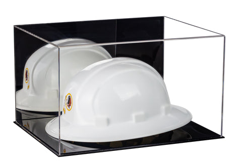 Large Helmet or Hard Hat Display Case with Mirror and Black Base