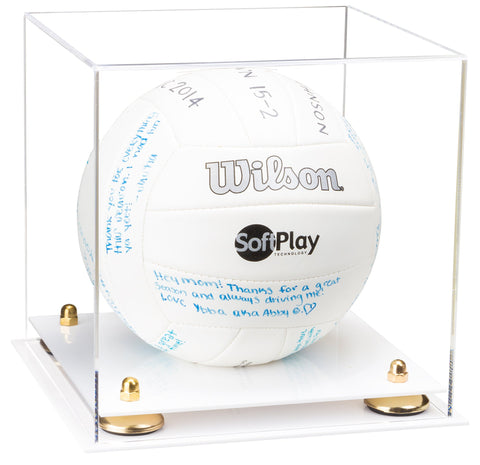 Clear Acrylic Volleyball Display Case with Risers and White Base