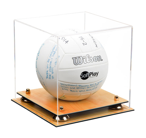 Deluxe Clear Acrylic Volleyball Display Case with Risers and Wood Floor (A027-WF)