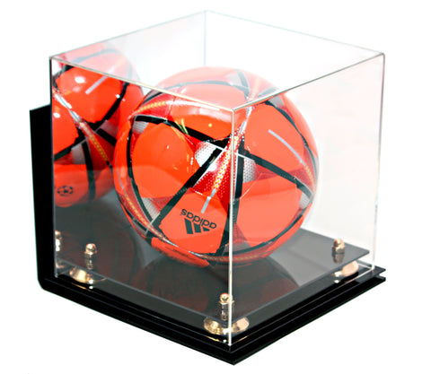 Deluxe Acrylic Full Size Square Soccer Ball Display Case<br><sub>with Risers and Mirror Wall Mount (A027), Display Case, Better Display Cases, Better Display Cases - Better Display Cases