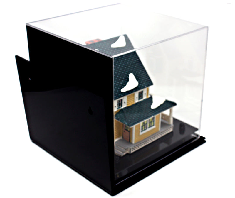 "Versatile Deluxe Acrylic Display Case - Medium Square Box with Risers, Mirror and Wall Mount 9.75"" x 9.75"" x 9.75"" (A027), Display Case, Better Display Cases, Better Display Cases - Better Display Cases"
