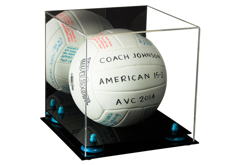 Deluxe Acrylic Volleyball Display Case with Risers and Mirror (A027), Display Case, Better Display Cases, Better Display Cases - Better Display Cases