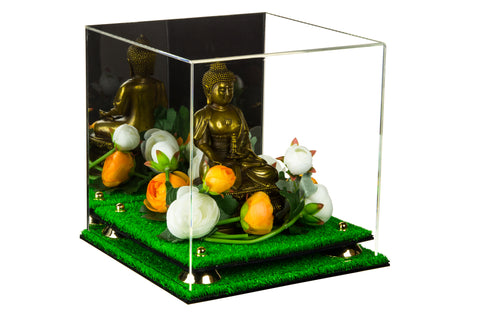 "Versatile Deluxe Acrylic Display Case - Medium Square Box with Risers, Mirror and Turf Base 9.75"" x 9.75"" x 9.75"" (A027-TB), Display Case, Better Display Cases, Better Display Cases - Better Display Cases"