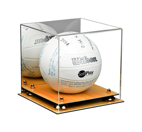 Deluxe Acrylic Volleyball Display Case with Risers, Mirror and Wood Floor (A027-WF)