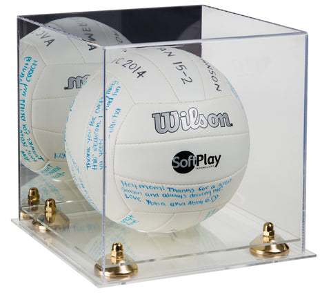 Deluxe Acrylic Volleyball Display Case with Mirror, Risers and Clear Base (A027-CB), Display Case, Better Display Cases, Better Display Cases - Better Display Cases