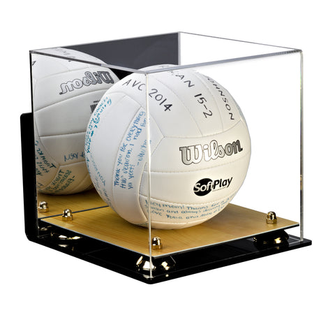 Deluxe Acrylic Volleyball Wall Mount Display Case with Risers, Mirror and Wood Floor (A027-WF)