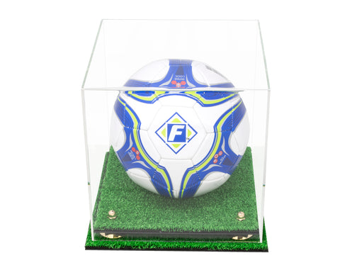 Deluxe Clear Acrylic Soccer Ball Display Case with Risers and Turf Base(A027-TB), Display Case, Better Display Cases, Better Display Cases - Better Display Cases
