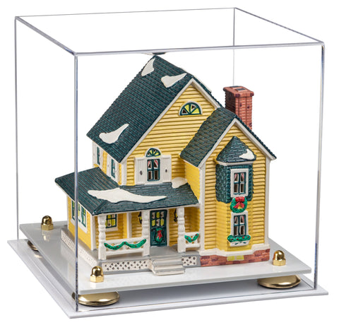 "Versatile Clear Acrylic Display Case - Medium Square Box with Risers and White Base 10"" x 10"" x 10"""