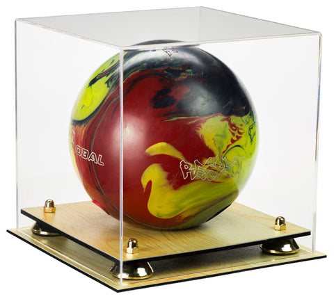 Deluxe Clear Acrylic Bowling Ball Display Case with Risers and Wood Floor (A028-WF), Display Case, Better Display Cases, Better Display Cases - Better Display Cases